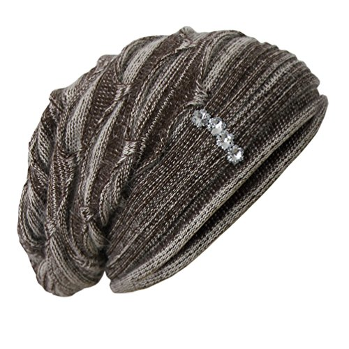 Angora Strickmütze mit Strass Ballon Mütze Wintermütze Ballonmütze Long Beanie P8 (One size, Braun Meliert)