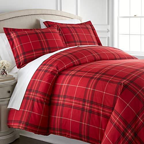 Southshore Fine Linens Bettwäsche-Set, 3-teilig, Übergröße Landhausstil Twin/Twin XL Vilano Plaid Red - Cottage Bed-twin Bed