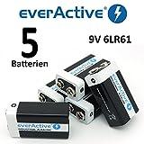 5 x everActive 9V Block 6LR61 MN 9 V Blockbatterie gebraucht kaufen  Wird an jeden Ort in Deutschland