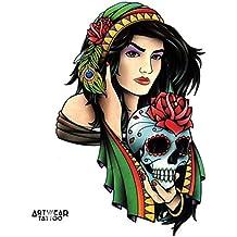 "Tatuaje temporal realizado por un artista ""Gipsy Girl"" - ArtWear Tattoo - B0345 M"