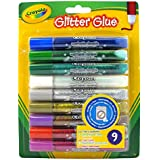 Crayola Washable Glitter Glue, 9 Pieces
