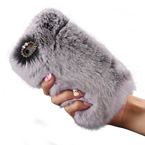 iPhone 8 Back Cover, elecfan Furry Case Luxury Women Girly Cute Bling Diamonds Bowknot Design Fluffy Soft Warm Case Protective Back Cover for Apple 4.7 Inch iPhone 8 (iPhone 8, Blau) Grau