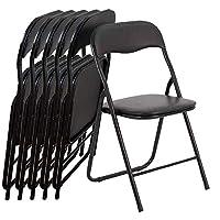 EGLEMTEK Set of 6 Folding Slim Chairs wtih stuffed seat and backseat for camping, house, garden