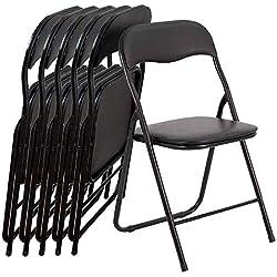 EGLEMTEK Lot de 6Chaise Pliante Slim Mat en métal pour Bureau Maison Camping avec Assise rembourrée Confortable