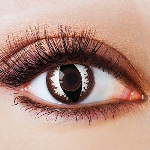 Farbige Kontaktlinsen Schwarz Ohne Stärke mit Motiv Schwarze Fun Linsen für Halloween Karneval Party Fasching Cosplay Kostüm Katze Cateye Black