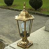 Cxmm Lampada da Esterno Europea Impermeabile in Vetro Trasparente Lampada a Colonna Lanterna Vintage Victoria Forte Alluminio Metallo Villa Patio Giardino Pilastro Pali Lampione Lampione E27 Deco