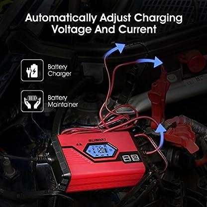 517hjVulZkL. SS416  - SUAOKI - Cargador de Baterias Coche, Moto, 4A, 6/12V, Mantenimiento Automático e Inteligente, 8 Cargas Etapas Identificación, Carga Segmentada con Múltiples Protecciones Para Coche, Camión, Moto