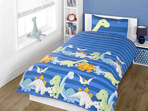 Dinosaur Blue Junior Toddler Cot Quilt Duvet Cover & Pillowcase Bedding Bed Set