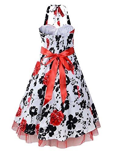 iLover rockabilly cru 40s 50s 60s points évasées robe de soirée danse licol de bal V013EU-Red