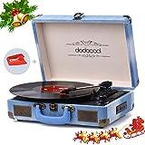 dodocool Giradischi Bluetooth a 3 Velocità (33 1/3 /45/78 Giri), Vintage Vinile Giradischi con 2 Altoparlanti Integrati, Presa RCA e Ingresso AUX/USB/Scheda SD, Converte il Vinile in MP3