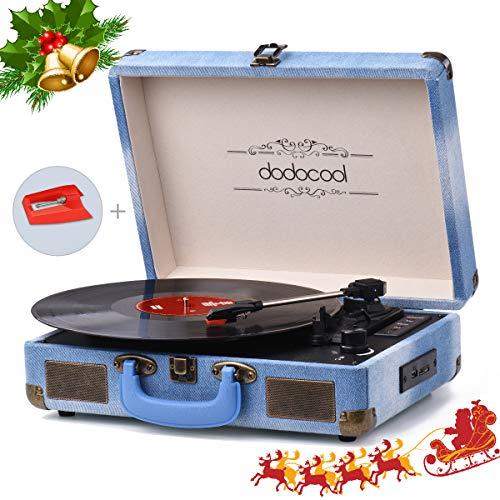 dodocool Platine Vinyle Blue tooth, Tourne-Disque Retro 33/45/78 TR/Min avec des Haut-parleurs Stéréo Intégrés, Soutien l' Enregistrement à MP3, SD/ USB/ Aux Entrée/ Sortie RCA