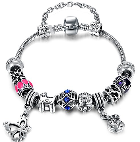 vintage-bleu-fleur-rose-perle-papillon-noir-avec-accents-perles-diy-bracelet-pandora-europeenne-pour