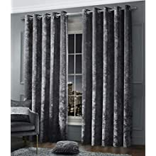 """RAYYAN LINEN CHARCOAL GREY FANCY CRUSHED VELVET EYELET RING TOP PAIR OF CURTAINS FULLY LINED (Width 90"""" X Drop 90"""")"""