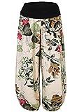 Slivexy Damen Blumen Sommer Pumphose Haremshose Lange Hose Apricot-Blumen One Size