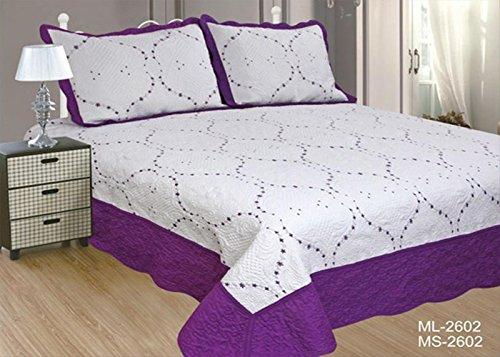 ForenTex- Colcha Boutí Cosida y Bordada, (ML-2602), cama 150 cm, 240 x 260 cm, Morado, +2 cojines, colcha barata, set de cama, ropa de cama. Por cada 2 colchas o mantas paga solo un envío (o colcha y manta), descuento equivalente antes de finalizar la