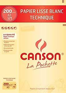 Canson Technique 200037112 Papier à dessin A3 29,7 x 42 cm 10 feuilles Blanc