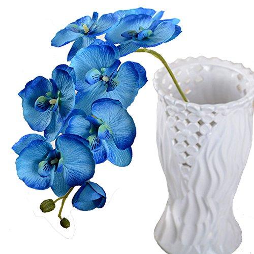 Calcifer 1 x Kunstblume aus Seide, Phalaenopsis-Orchidee, für Hochzeit, Party, Zuhause & Garten, Dekoration blau