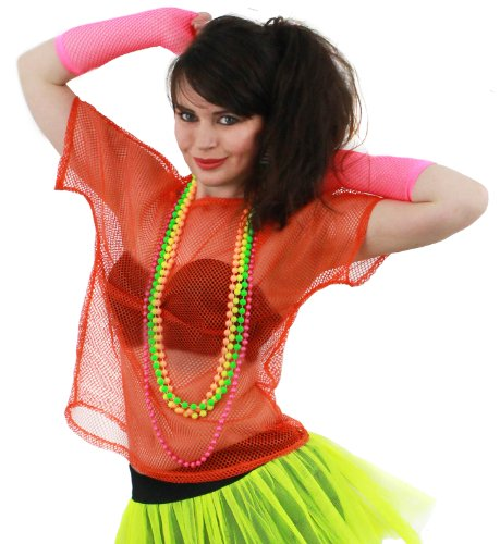 Orange Fishnet Top for Women's 1980s Fancy Dress