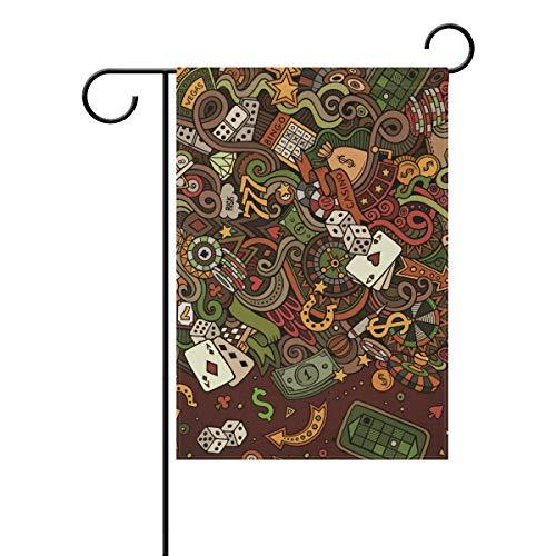 DEZIRO Casino Dollar Poker Craps Yard Flag Custom Garden Flag Double Side, Polyester, 1, 12x18(in)