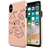 WTF Where is The Food Compatible with Apple iPhone XS Max Silicone Inner & Outer Hard PC Shell 2 Piece Hybrid Armor Case Cover