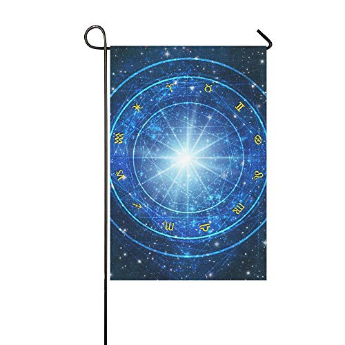 Dekoratives Doppelseitiges Astrologie-Rad mit Sternzeichen-Symbolen auf blauer Rückseite, Garten-Flagge, Garten-Hof-Dekorationen, saisonale Willkommen-Flagge, 30,5 x 45,7 cm, Frühlings-Sommer-Geschenk