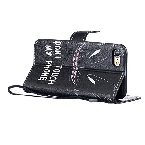 iphone 8 plus Brieftache,Flip Handyhülle iphone 8 plus 5.5 Zoll, Aeeque iphone 8 plus [Don't Touch My Phone] Kartenfächer Standfunktion mit Schwarz Abnehmbar Handy Lanyard und Weich Silikon Innere Boo Don't Touch My Phone #2