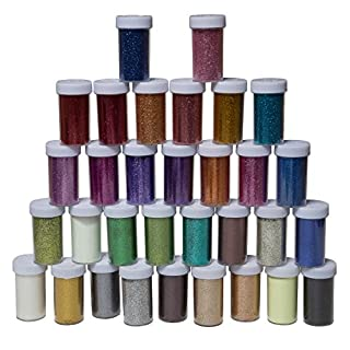 Fine Glitter for Art & Crafts, Nail Art, Face Art & Slime 32 Pack Multi-Coloured Sparkling Glitter Shakers, Included 2 Glow-in-The-Dark Glitters