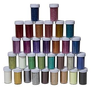 32 Glitzerfarben Glitzerpulver davon 2 Glitter leuchtend im Dunkeln zum Basteln Kinder Bastelset Glitzer silber Glitterdeko Weihnachtsdeko