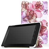 MoKo Fire 7 2015 Case - Ultra Lightweight Slim-shell Stand Cover for Amazon Fire Tablet (7 inch Display - 5th Generation, 2015 Release Only), Floral Purple