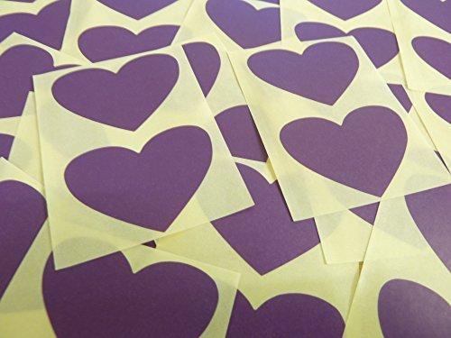 50x37mm Púrpura Oscuro Violeta Con Forma De Corazón Etiquetas, 40 auta-Adhesivo Código De Color Adhesivos, adhesivo Corazones para Manualidades y Decoración