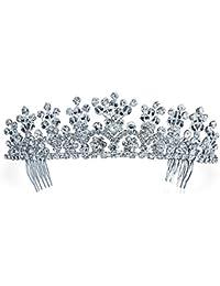 Bling Jewelry Tiara con Flor Corona Princesa Platada Boda Novia