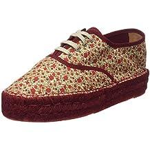 Hakei Yute Doble Plano Ingles Flores, Zapatillas para Mujer, Burdeos, EU 39