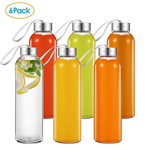 Aicook Glas-Wasserflaschen, 6 Stück, 457 ml, Glasflasche für Saft, Getränke, Smoothie Edelstahl auslaufsicher, einfach mit Trageschlaufe, Wiederverwendbare Trinkflasche, Saftgetränkehalter