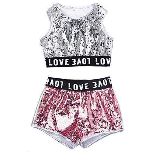 Mädchen Pailletten Hip-Hop-Jazz Performance Kostüme School Dance Clothing Set (Rosa, ()
