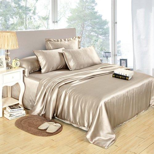 LILYSILK Seide Bettwäsche Bettwaren Set Bettbezug 155x200cm Kissenbezug 80x80cm für hohen Schlafkomfort aus 100% Maulbeerseide von 25 Momme-Kaffee
