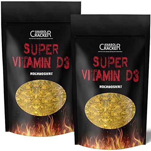 2X Super Vitamin D3, 450 Softgel Kapseln gesamt, 5000 I.E. - 1000 I.E. pro Tag / Hochdosiert, Premium Qualität, Immunsystem, Zellfunktionen (Pillen Vitamin 10000 E)