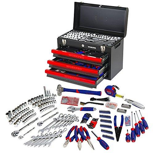 WORKPRO Werkzeugkoffer Mechanik Metall mit 3 Schubladen Heavy Duty Werkzeugschrank (408Stück)
