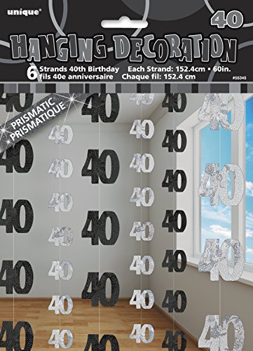 Unique Party- Paquete 6 decoraciones 40 cumpleaños
