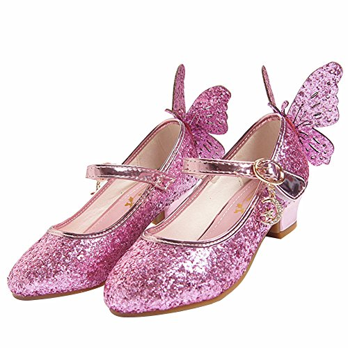 c4b9c612fb128 Amur Leopard Enfant Fille Chaussure de Danse à Talon en PU Cuir Ballerine  Princesse Paillettes