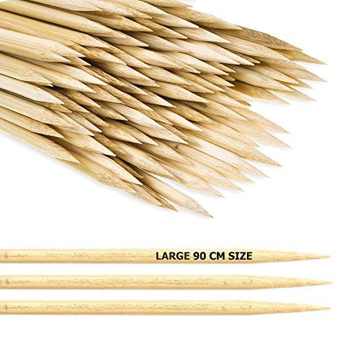 MATANA 100 Extra Lange Lagerfeuer Spieße (90cm), Extra Dick & Stabil - Ohne Splitter, Sicher, Kindergerecht Bambus - Grillspieße Holz für Marshmallows, Bratwürsten, Feuerschale, Garten Partys.
