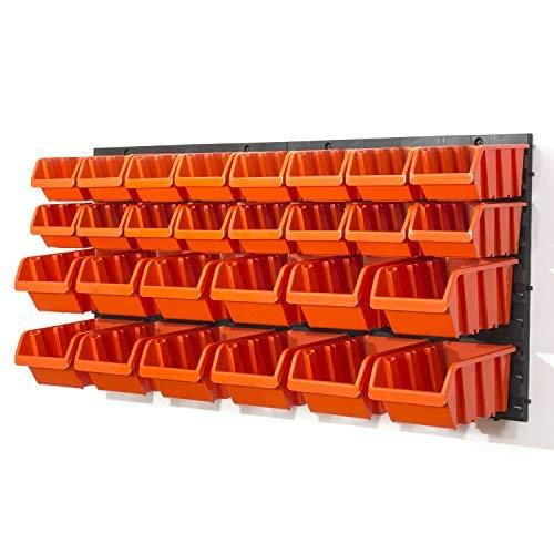 Wandregal + Stapelboxen 30 teilig Box Werkstatt Regal Lagerregal Steckregal