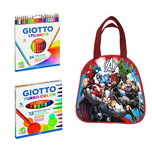 best service c38bf 8f103 Kit escolar infantil Giotto Turbo Color 12 + Giotto Stilnovo 24 + Porta  Merenda Avengers