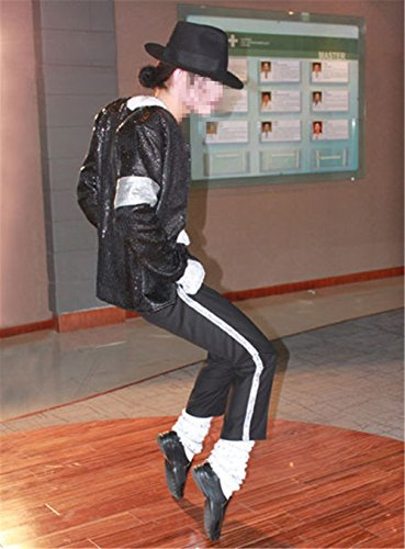 Cosplay Kostüm der Männer scherzt Michael Jackson Cosplay MJ Cos Kind Kostüm 6pcs MJ Billie Jeans Jacket + Pant + T-Shirt + Socken + Glove + Hat (W:55-60kg H:160-170cm)