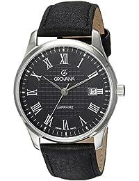 Grovana 1215,1534 - Reloj analógico de cuarzo para hombre, correa de cuero color negro (agujas luminiscentes)