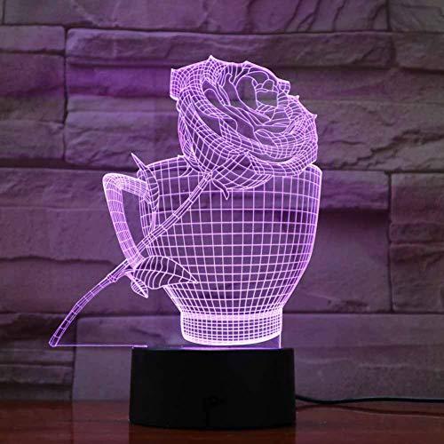 WZYMNYD Innovative LED Tischleuchte Cup Flower 3D Visuelle Nachtlampe Bunte luminaria Weihnachtsschmuck für zu hause Atmosphärenbeleuchtung