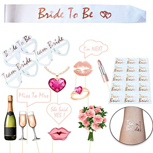 Jonami JGA deko Accessoires für Den Junggesellinnenabschied, Hochzeit Hen Party Rose Gold Team Braut Fotorequisiten Photo Booth Props, Braut to be Scharpe und Tattoos fur Bridal Shower