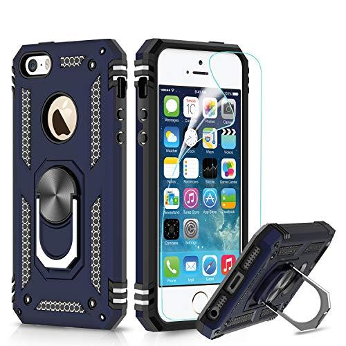 LeYi Hülle iPhone SE / 5S / 5 Handyhülle,360 Grad Drehbar Ringhalter Cover TPU Magnetische Bumper Stoßdämpfung Schutzhülle mit Folie Schutzfolie für Case Apple iPhone SE/5S/5 Handy Hüllen Dunkelblau