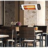 DMS® Infraroodstraler, 2500 watt, terrasverwarmer, warmtestraler met afstandsbediening en timer, wandhouder, kwartsstraler, terrasverwarmer, infrarood verwarming, verwarming, verwarmingselement, temperatuur 3-traps