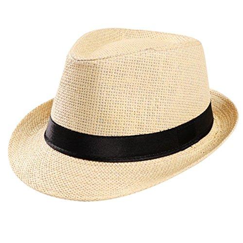 wuayi Unisex Verstellbar Trilby Gangster Gap Beach Sun Strohhut Band Sunhat Outdoor Hüte Regulierbar Beige