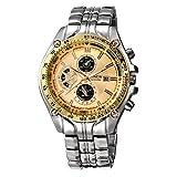 Xinantime Reloje Hombres,Xinan Militar de Acero Inoxidable Reloj de Pulsera Analógico (Oro)